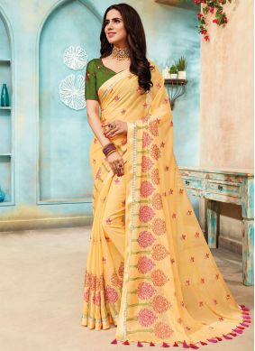 Faux Chiffon Yellow Embroidered Contemporary Saree