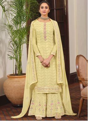 Faux Chiffon Yellow Embroidered Designer Palazzo Suit