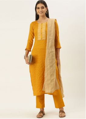 Faux Chiffon Yellow Embroidered Designer Straight Suit