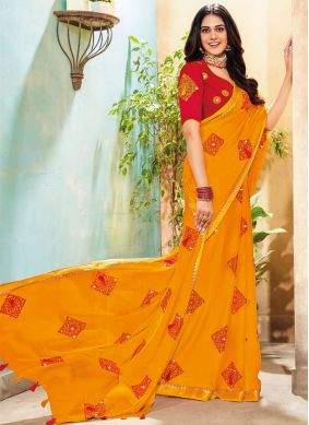 Faux Chiffon Yellow Embroidered Traditional Saree
