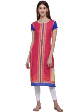 Faux Crepe Pink Color Casual Kurti