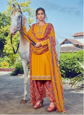 Yellow Faux Crepe Ceremonial Bollywood Salwar Kameez