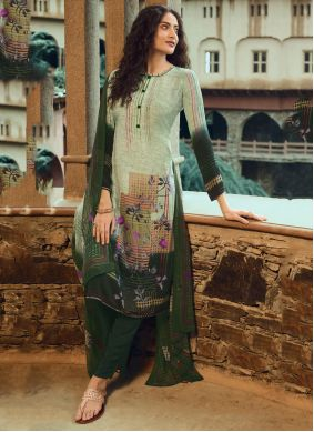 Faux Crepe Cream and Green Printed Pant Style Suit
