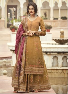 Faux Crepe Embroidered Mustard Designer Palazzo Suit
