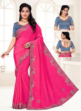 Faux Crepe Embroidered Hot Pink Trendy Saree