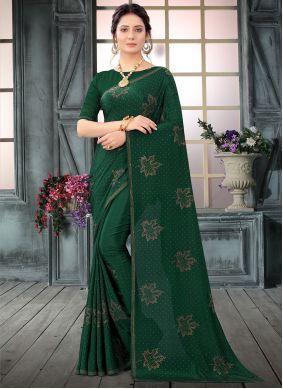 Faux Crepe Green Classic Designer Saree