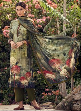 Faux Crepe Green Printed Palazzo Suit