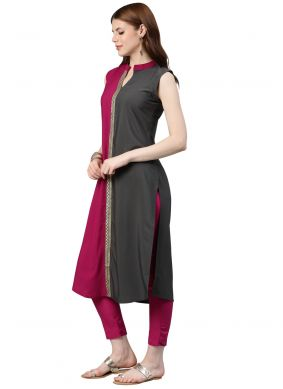 Faux Crepe Grey and Hot Pink Plain Casual Kurti