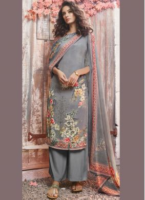 Faux Crepe Grey Printed Pant Style Suit