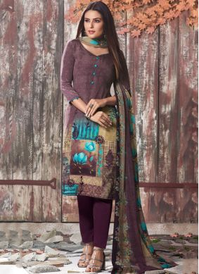 Faux Crepe Multi Colour Printed Pant Style Suit