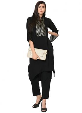 Faux Crepe Party Wear Kurti in Black