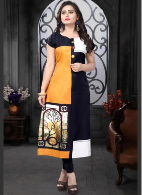 Faux Crepe Print Black and Orange Casual Kurti