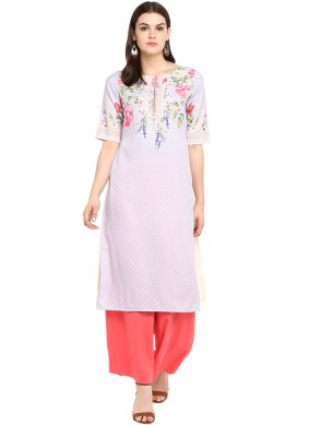 Faux Crepe Print Party Wear Kurti in Multi Colour