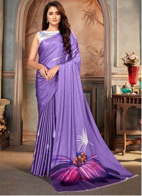 Faux Crepe Print Purple Casual Saree