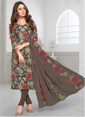 Faux Crepe Printed Brown Pant Style Suit