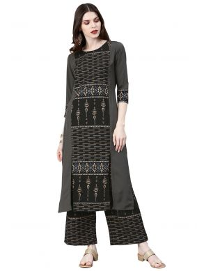 Faux Crepe Printed Grey Casual Kurti