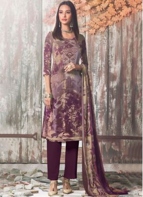 Faux Crepe Printed Pant Style Suit in Multi Colour