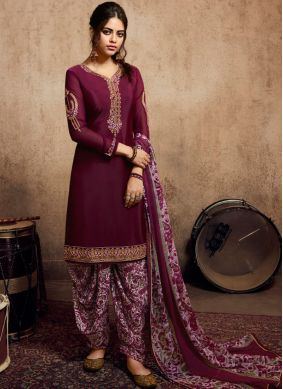 Faux Crepe Purple Embroidered Patiala Suit