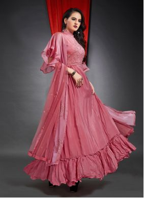 Faux Crepe Reception Readymade Gown