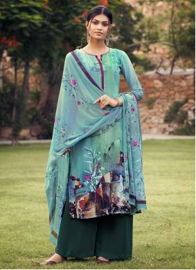 Faux Crepe Sea Green Printed Palazzo Suit