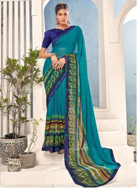 Faux Georgette Abstract Print Multi Colour Saree
