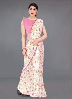 Faux Georgette Abstract Print Off White Saree