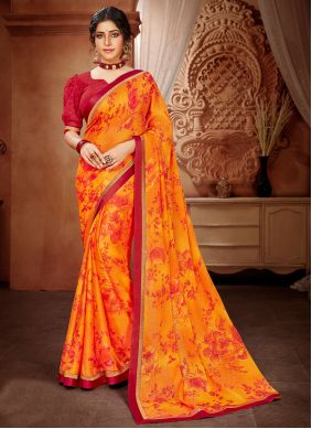 Faux Georgette Abstract Print Orange Saree