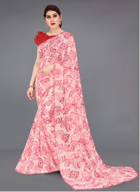 Faux Georgette Abstract Printed Saree in Red