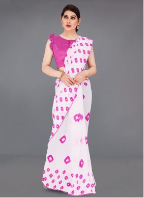 Faux Georgette Abstract Printed Saree in Off White