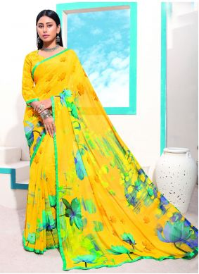 Faux Georgette Abstract Printed Saree in Yellow