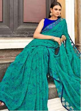 Faux Georgette Abstract Print Rama Saree
