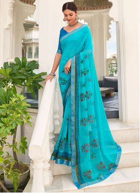 Faux Georgette Abstract Print Saree in Blue
