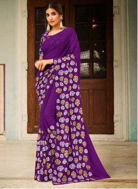 Faux Georgette Abstract Print Saree in Purple
