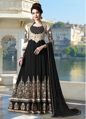 Faux Georgette Anarkali Salwar Kameez in Black