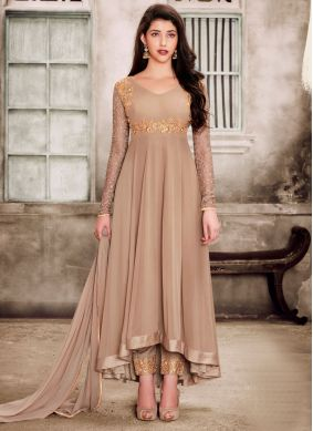 Faux Georgette Beige Embroidered Salwar Suit