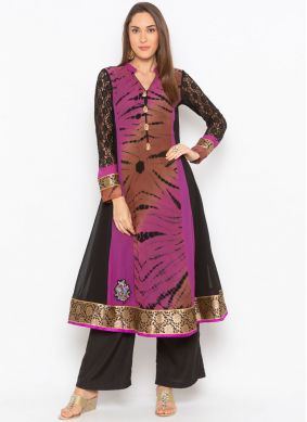 Faux Georgette Black and Purple Embroidered Party Wear Kurti
