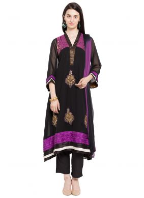 Faux Georgette Black Embroidered Readymade Salwar Kameez
