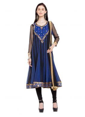 Faux Georgette Blue Readymade Anarkali Salwar Suit
