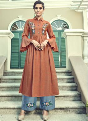 Faux Georgette Brown Embroidered Designer Palazzo Suit