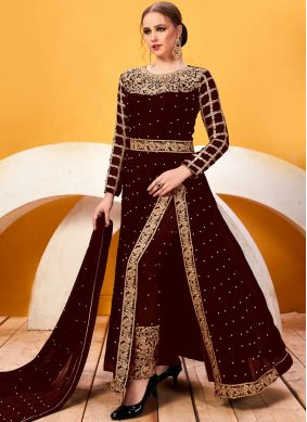 Faux Georgette Brown Resham Pant Style Suit