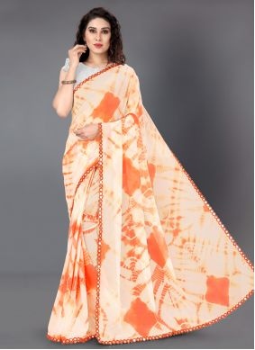 Faux Georgette Casual Saree in Orange