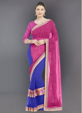 Faux Georgette Casual Saree in Pink