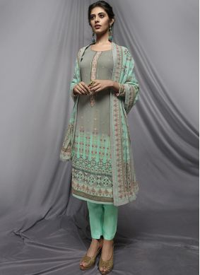 Faux Georgette Churidar Designer Suit in Sea Green