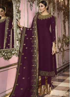 Faux Georgette Churidar Suit in Purple