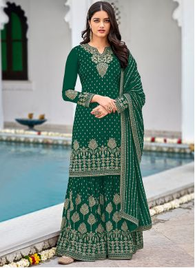 Faux Georgette Designer Palazzo Suit in Green