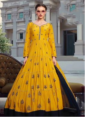 Faux Georgette Digital Print Mustard Trendy Gown