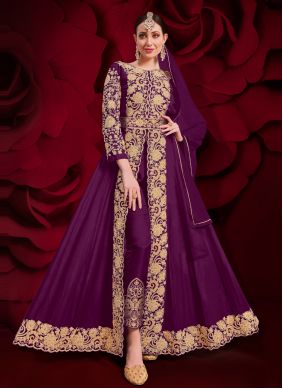 Faux Georgette Embroidered Anarkali Suit in Purple