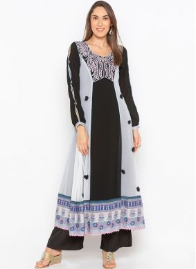 Faux Georgette Embroidered Black Party Wear Kurti