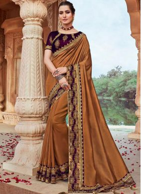 Faux Georgette Embroidered Classic Saree in Brown