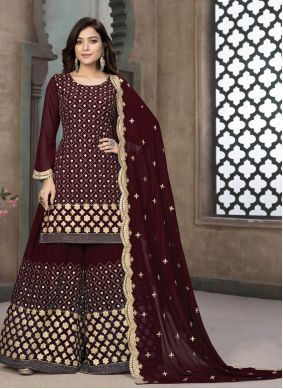 Faux Georgette Embroidered Designer Pakistani Suit in Maroon